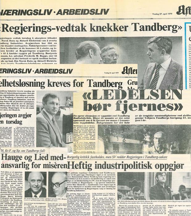 Avis oppslag fra Tandberg konkursen.