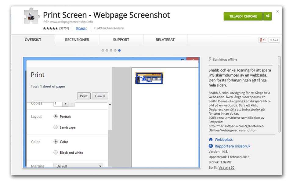 Webpage screenshot chrome utvidelse