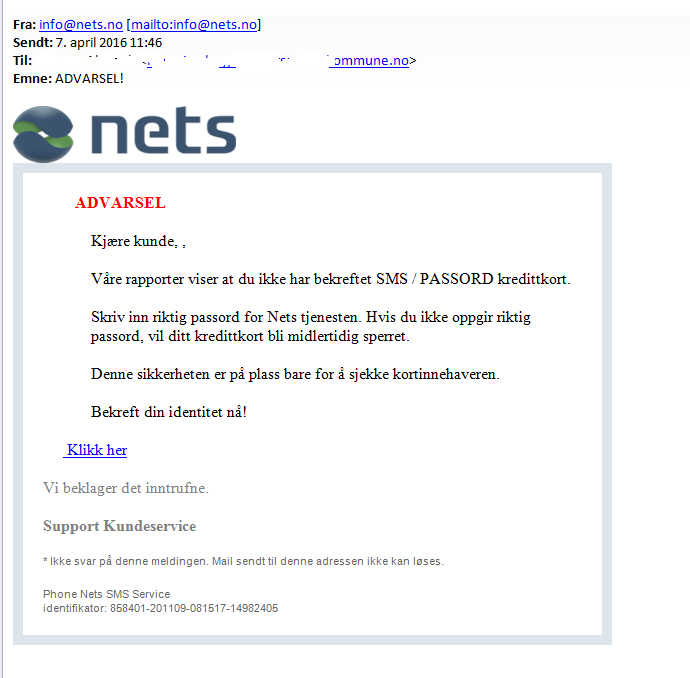 Phising mail fra nets.no